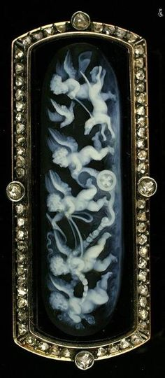 Onyx cameo brooch with rose-cut diamonds. France circa 1870. by sheryl