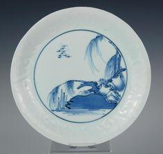 Rare Ai Kutani Japanese porcelain dish, rim moulded with waves, 1655-1670, Arita in Antiques, Asian/Oriental Antiques, Japanese, Porcelain   eBay