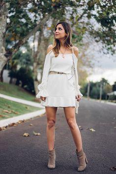 Look – Vestido   Botinha. Luisa Accorsi - Sonhos de Crepom