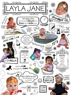 24x36 - Customized Year One Infographic - Baby's First Year, First Birthday Gift, 1st Year Photo, Statistics, Milestones, Scrapbook, Collage by BabyFourOneOne on Etsy https://www.etsy.com/listing/210053519/24x36-customized-year-one-infographic