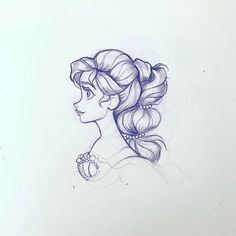 Portrait of a mermaid by Nicole Garber. Great example of a character cartooning and sketching