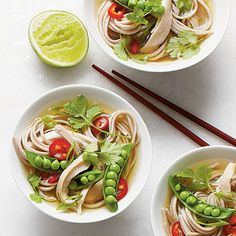 Quick Chicken Noodle Bowls | Fresh lime juice adds extra bright flavor. Bringing the broth back to a boil before serving ensures the snap peas cook to a crisp-tender texture.