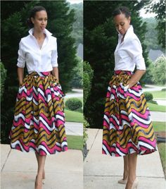 White shirt combo is very chic! African Print Midi Skirt by MelangeMode African Inspired Fashion, African Print Fashion, Fashion Prints, African Prints, Ankara Fashion, African Fabric, Nigerian Fashion, Ghanaian Fashion, Ankara Fabric