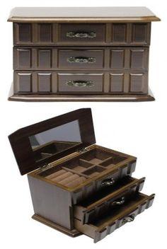 Ékszertartó doboz, ékszerdoboz 3 fiókkal és kazettákkal