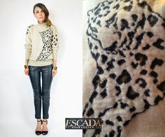 knitted ESCADA avant garde LEOPARD FACE cat by discoleafvintage, $128.00