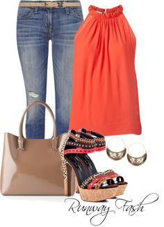 Summer-time, coral halter top and heels