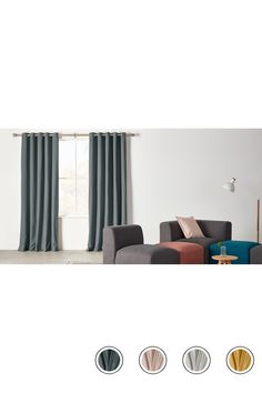 Wespa Lined Cotton Eyelet Pair Of Curtains 168 X 228 Cm Charcoal