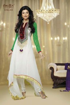 Sushmita Sen Collection - White and Green Faux Georgette Anarkali suit with Embriodery,Patch Work and Lace Work