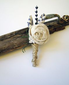barn wedding boutonniere with rosette | 28 Best Rustic Wedding Boutonniere Ideas