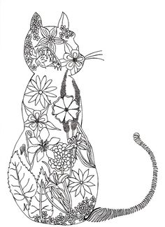 Adult colouring page, de-stress, art-therapy, zen, cat, flowers, garden, digital picture to download