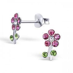 Blumen Ohrstecker Rosa Kristalle Echt 925 Silber Damen ,Mädchen