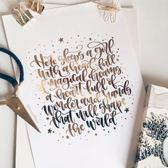 I love how this custom order turned out ✨ The foil is gold although it looks a little rose gold here. Calligraphy Doodles, How To Write Calligraphy, Calligraphy Quotes, Calligraphy Letters, Modern Calligraphy, Caligraphy, Handwritten Quotes, Hand Lettering Quotes, Brush Lettering