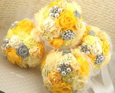 @Ashley Abuthan..Bridesmaids Brooch Bouquets in Yellow and White with by SolBijou, $480.00