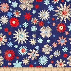 Designed by Macrina Busato for Windham Fabrics, this cotton print fabric is perfect for quilting, apparel, crafts, and home decor items. Colors include navy, aqua, peach, cream, blue, and red.