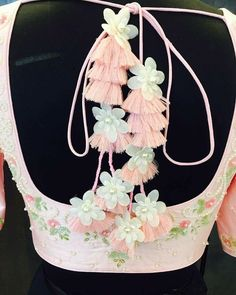 #flowers, #cords, #decorative back design, #couture embellishment
