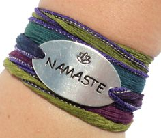 Excited to share this item from my #etsy shop: Namaste Silk Wrap Bracelet wrsit tattoo cover up body jewelry arm band yoga lotus by Bohemian Earth Designs Etsy FREE Shipping USA Gypsy Jewelry, Yoga Jewelry, Etsy Free Shipping, Silk Wrap Bracelets, Anklet Tattoos, Ribbon Jewelry, Cover Up Tattoos, Gypsy Style, Arm Tattoo