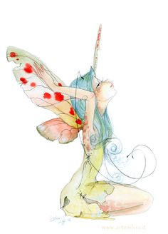 A little butterfly fairy. Watercolour and colourated pencil. Magical Creatures, Fantasy Creatures, Elves And Fairies, Butterfly Fairy, Love Fairy, Flower Fairies, Fairy Art, Watercolor Art, Fantasy Art