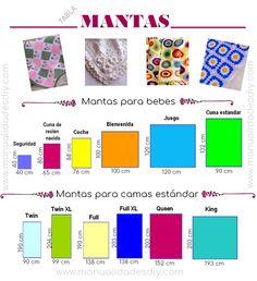 Tablas de medidas para tejer crochet – ¡No te las pierdas! Crochet Pillow, Crochet Baby, Knit Crochet, Tama, Bar Chart, Baby Shower, Quilts, Knitting, Sewing