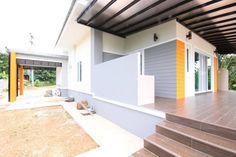 This house concept is simple in design yet the touch of elegance is still in it. With 3 bedrooms, this house is 143 square meters total floor area. Modern Bungalow House Plans, Bungalow House Design, Simple House Design, Modern House Design, Modern Houses, 2 Storey House Design, Three Bedroom House Plan, Thai House, Beautiful House Plans