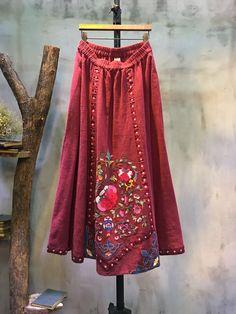 Folk Style Ethnic Embroidery Loose Skirt Natural Linen Red Maxi Skirt #skirt #red #embroidery #ethnic #folk #linen #flax #maxi #loose #plussize