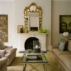 Adorn your carved marble fireplace with gilded gold accents and ...