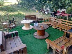 #Garden, #PalletGardenSet, #PalletSofa, #PalletTerrace, #ReclaimedPallet