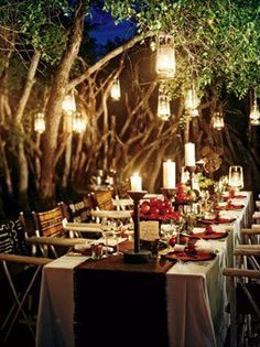 Outdoor dinner by candlelight...come join the party.