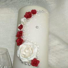 """Bougies  décorées (coloris blanc+ rouge) """"passion""""  pour mariage et événements"""