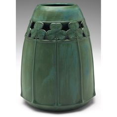 "Amphora - Clover Vase. Carved, Pierced & Matte Glazed Pottery. Designed by Eduard Stellmacher (1868-1929). Turn-Teplitz, Bohemia (Czech Republic). Circa 1910. 8"" x 6-1/2""."
