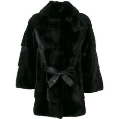 Cara Mila Zofia Mink Coat ($6,713) ❤ liked on Polyvore featuring outerwear, coats, black, hooded mink coat, hooded coat, belted coat, mink coat and mink fur coat