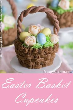 Looking for Unique Homemade Easter Basket Ideas?  These cute Easter cupcake basket is very easy to bake #preppykitchen #easter #easterbasket #eastercupcakes #easterideas #chocolatecupcakes
