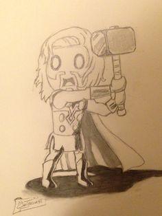 Thor cartoon done in pencil. 09/05/15