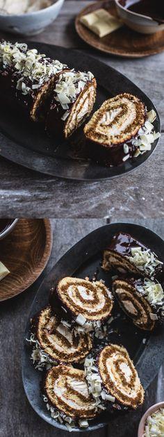 Tiramisu Swiss Roll Cake