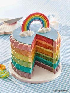 Rainbow layer cake // kids party ideas