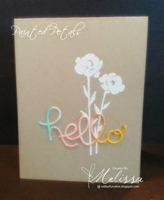 Stamps: Painted Petals Ink: Whisper White (Bermuda Bay, Crushed Curry, Calypso Coral) Paper: Crumb Cake (watercolor paper) Accessories: Whisper White embossing powder, Heat Tool (Hello You Thinlits, Aqua Painter)