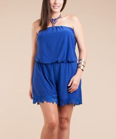 Loving this Royal Blue Lace Blouson Romper - Plus on #zulily! #zulilyfinds