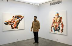 Working with a large palette knife and thick globs of oil paint, Tehran-based artist Salman Khoshroo creates large-scale figures and portraits that practically drip from the canvas. The scale on a computer or mobile screen can be quite deceiving, as most of these pieces are several feet tall, compos