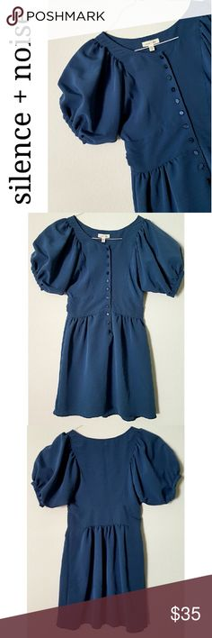Puffy sleeve mini dress So light weight and elegant,  feels like a second skin. Ancient Greek waist style, button down 3/4 way, straight- flare skirt, amazing big puffy sleeves. 100% polyester. In excellent LIKE NEW condition. Urban Outfitters Dresses Mini