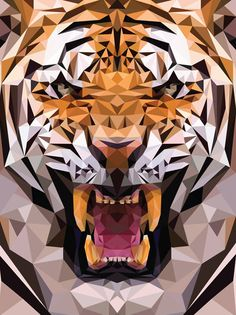 Illustration / Geometric Tiger Made From Triangles
