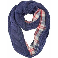 Navy Blue Cable Knit Infinity Scarf With Flannel Lining ( 22) ❤ liked on  Polyvore 9b31bbfa138