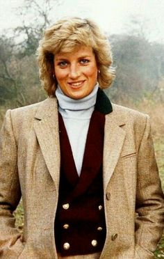 Rare Princess Diana photo c. 1989. Looks like Balmoral. Diana wearing a beige tweed jacket.