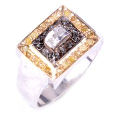 #jewelry 0.80.ct RAW WHITE & GOLDEN NATURAL DIAMOND .925 SILVER RING SIZE 9 see video please retweet