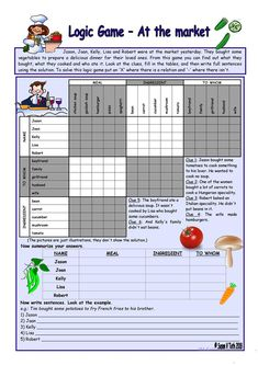 Logic game (22nd) - At the market *** with key *** for intermediate ss *** fully editable * * reuploaded