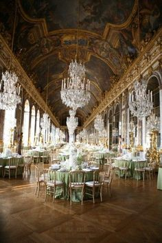 Versaille Palace in France just outside Paris where Louis 16th and Mary Antoinette lived! This is the hall of chandelieres!