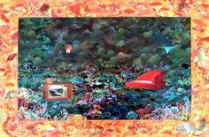 Peixinhos dourados - collage sobre MDF - 2014 - colagem de Silvio Alvarez - arte, art, collage, colagem, collage art, collage artist, paper, papel, revistas, recortes, sustentabilidade, reciclagem, reaproveitamento, arte ambiental, brazilian art, silvio Alvarez, surrealism, surrealismo, surreal, collagework, peixe, peixinho, aquario, sala, sofa, raia, tv, televisao, media, midia, corais, fundo do mar, oceano, maritmo, submerso,