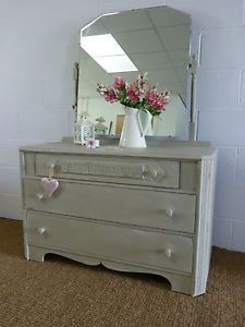 Shabby Chic Hand Painted Old Oak Wooden Chest Of Drawers Dressing Table