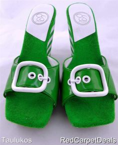 Womens shoes JESSICA SIMPSON Green White Wedge High Heel Platform Sandal 8.5 M