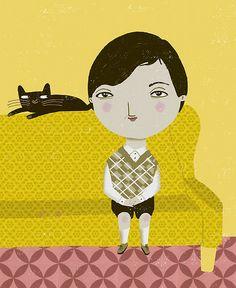 cat art, ador cat, ilustration cats, lozano zevi, babi cat
