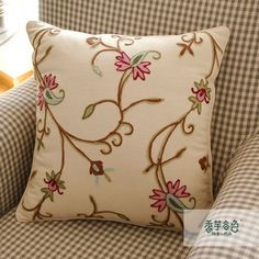 Chill Flower Embroidery Pillow