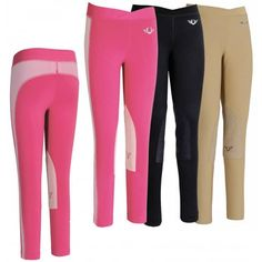 Young riders will love the eye-catching style of the super comfortable TuffRider Childrens Ventilated Schooling Tights. These riding tights are available in a wide assortment of solid colors, all sporting a bright accent colored fabric that runs down the outer legs and across the back. These schooling tights can be paired with a wide variety of tops for excellent schooling outfits.  The TuffRider Childrens Ventilated Schooling Tights have been designed with your young rider's comfort in…